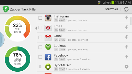 Zapper Task Killer & Manager - screenshot thumbnail