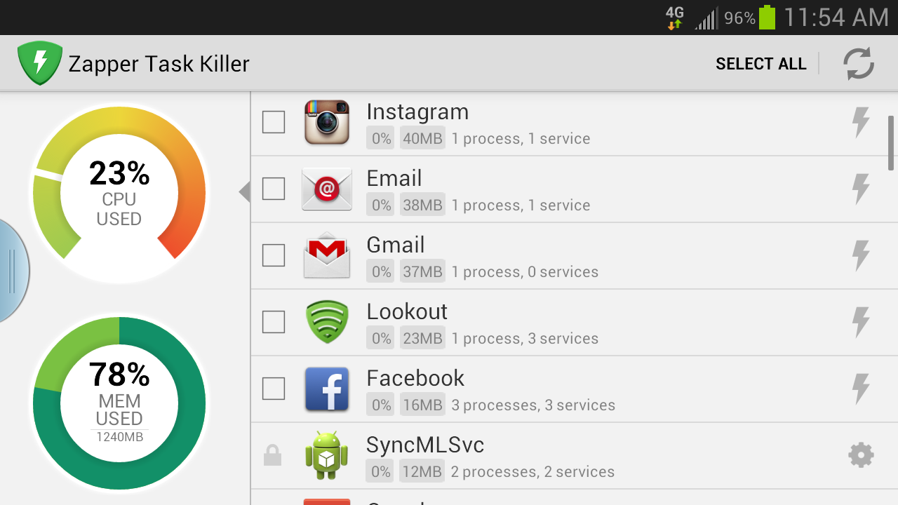 Zapper Task Killer & Manager - screenshot