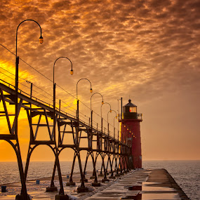 Night Ends by Charles Anderson Jr - Buildings & Architecture Bridges & Suspended Structures ( sunset, lighthouse, pier )