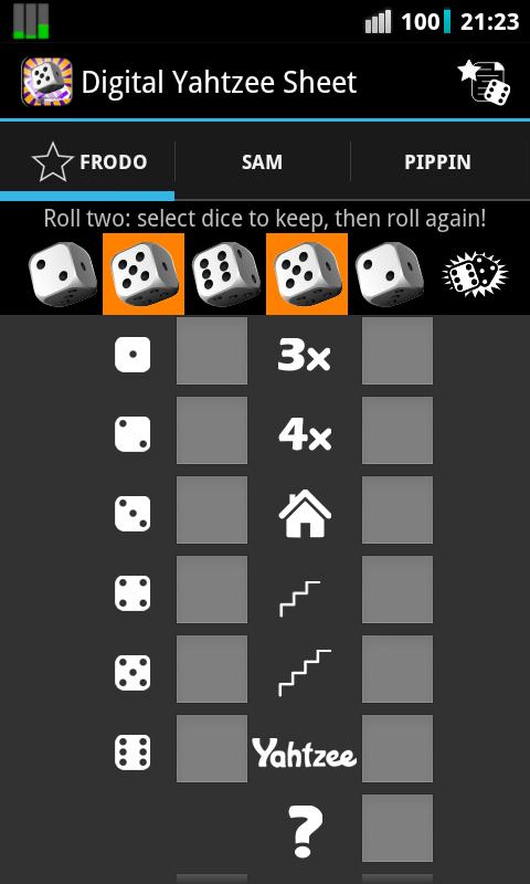 Digital Yahtzee Sheet - screenshot