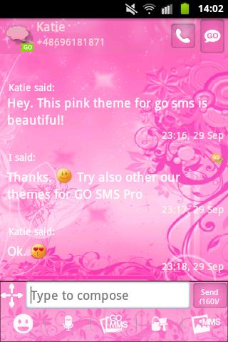 GO SMS Pro Theme Pink Flowers- screenshot