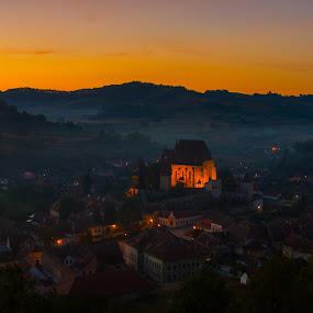 Biertan night by Nicu Hoandra - Landscapes Sunsets & Sunrises ( autumn, biertan, sunrise, colours )