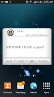 Screenshot of SMS POPUP + FLASH