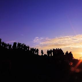 waiting for sunrise by Benaya Agung - Landscapes Sunsets & Sunrises ( hills, mountain, sunrise, morning, people, hiking, Earth, Light, Landscapes, Views )