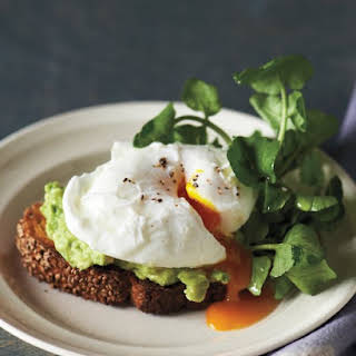 Sesame Toasts with Poached Eggs and Avocado.