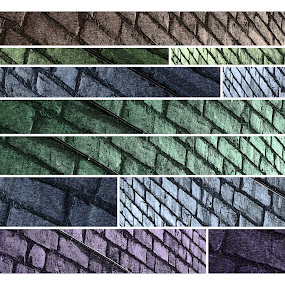 Brickwork, Contained. by Steve Hird - Digital Art Abstract ( building, uk, colorful, colors, brick, art, earlsdon, house, coventry, colours, colour, walls, colourful, glitch, color, buildings, wall )