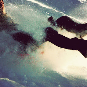 Pulka by Kajsa Karlsson - Sports & Fitness Snow Sports ( winter, spray, sleigh, snow, action, man, sun )