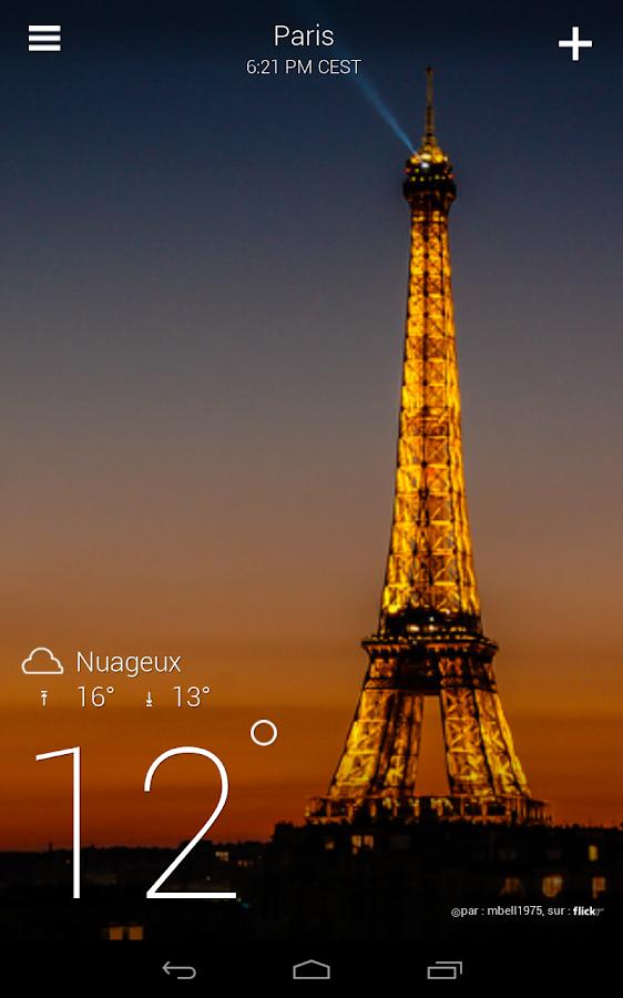 Yahoo Météo - screenshot