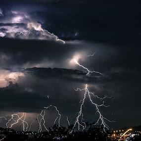 Layered lightning by Alexius van der Westhuizen - Landscapes Weather ( lightning, johannesburg, thunderbolts, south africa, summer storms, electric storms,  )
