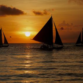 Boracay Sunset by Samson Calma - Transportation Boats ( boracay, sunset, resort, beach )