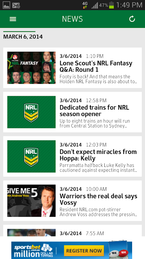 Official NRL App 2014 - screenshot