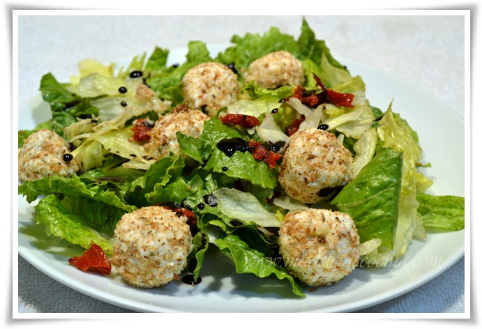 Salad with Breaded Goat Cheese Balls Recipe