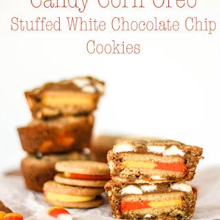 Candy Corn Oreo Stuffed White Chocolate Chip Cookies.