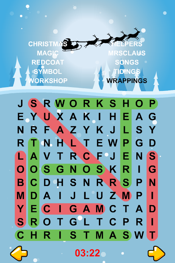 Christmas Word Search Puzzles- screenshot