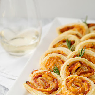Ham Cheddar and Rosemary Pinwheels.
