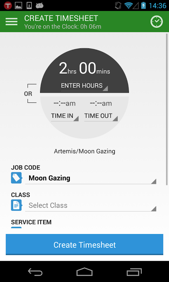 TSheets Time Tracker - screenshot