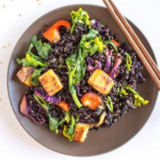 Forbidden Rice Stir Fry & Baked Teriyaki Tofu