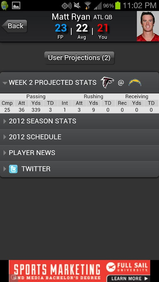 Fantasy Football Predictor '14 - screenshot