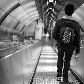 going down by Karen Shivas - Black & White Street & Candid ( tube, white, steep, black, escalator )