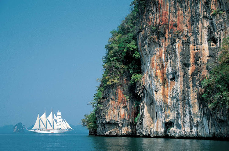 Get close-up views of granite cliffs, remote islands and coral reefs on Star Clipper.