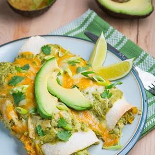 Chicken and Avocado Enchiladas in Creamy Avocado Sauce.
