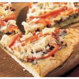 Chicken Pesto Pizza with Roasted Red Peppers and Asparagus.