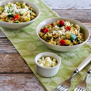 Slow Cooker Brown Rice Veggie Bowl with Asparagus, Red Bell Pepper, Zucchini, and Feta (Gluten-Free).