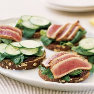 Ahi Tuna and Cucumber Sandwiches with Tapenade.