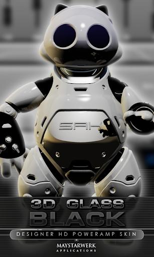 poweramp skin black 3d