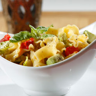 Barilla® Campanelle Pasta Salad with Avocado, Boston Lettuce & Roasted Red Peppers.