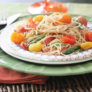 Bacon Parmesan Spaghetti with Asparagus, Corn and Heirloom Tomatoes.