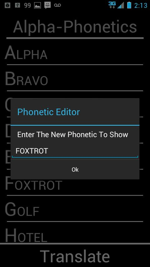 Alpha-Phonetics - screenshot