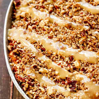 Sweet Potato Casserole with Marshmallow Drizzle and Buttered Pecan Topping