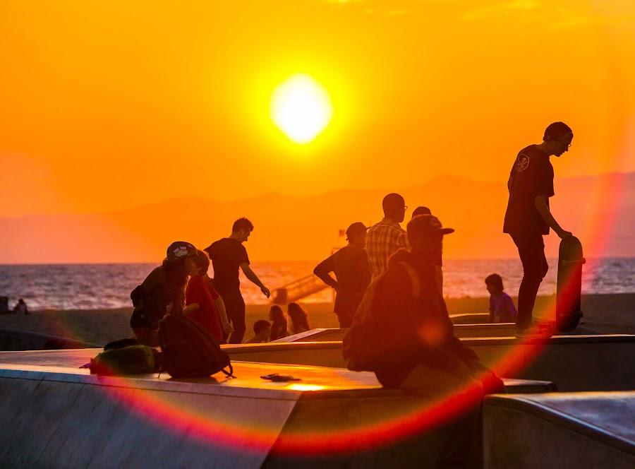 Sunset over Venice Beach by Greg Bracco - Sports & Fitness Skateboarding ( skate, greg bracco, venice california, beach sunset, beach, sunlight, skateboarding, beaches, skater, venice beach, sunset, sunny, greg bracco photography,  )