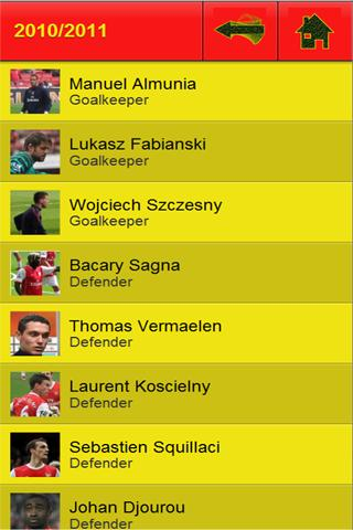 Arsenal Player Stats - screenshot
