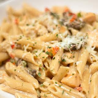 Cajun Salmon and Shrimp Pasta.