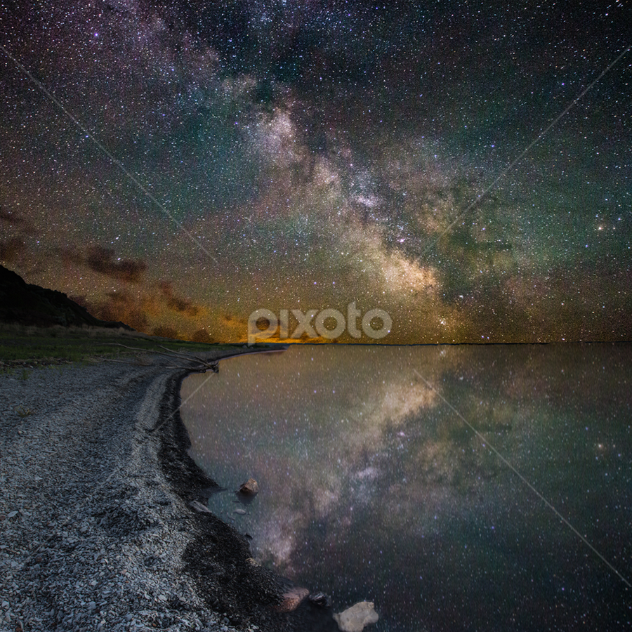 Lake Oahe III by Aaron Groen - Landscapes Starscapes ( pike haven, reflection, pike haven resort, lake oahe, stars, homegroen photography, aaron j. groen, pierre, south dakota, milky way, galaxy )