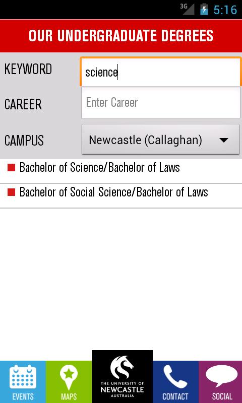 University of Newcastle (UoN) - screenshot