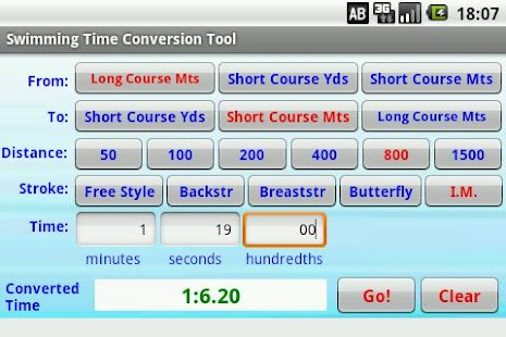 Swimming Time Conversion Tool- screenshot thumbnail