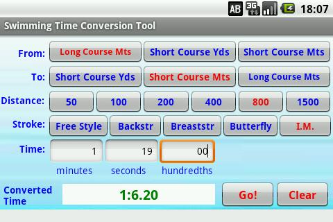 Swimming Time Conversion Tool- screenshot