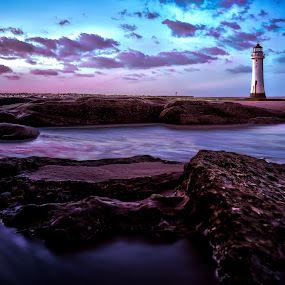 New Brighton Shore by Ian Yates ヅ - Landscapes Waterscapes ( shore, estuary, mouth, liverpool, lighthouse, perch rocks, beach, mersey, sanstone, new, brighton, rocks, river )