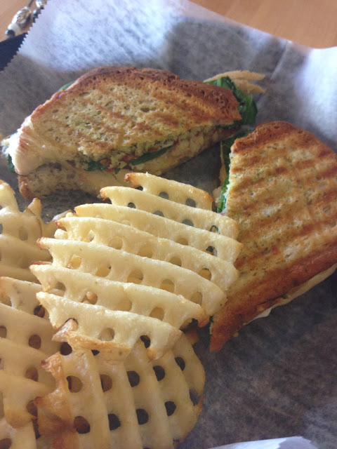 Chicken florentine with waffle fries