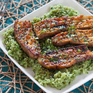 Miso-Glazed Eggplant with Green Tea Rice.