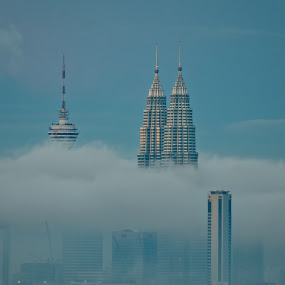 Petronas Towers by Alex Shanti - City,  Street & Park  Skylines ( clouds, klcc, petronas, malaysia, twins, , Urban, City, Lifestyle, serenity, blue, mood, factory, charity, autism, light, awareness, lighting, bulbs, LIUB, april 2nd )