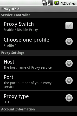 ProxyDroid - screenshot