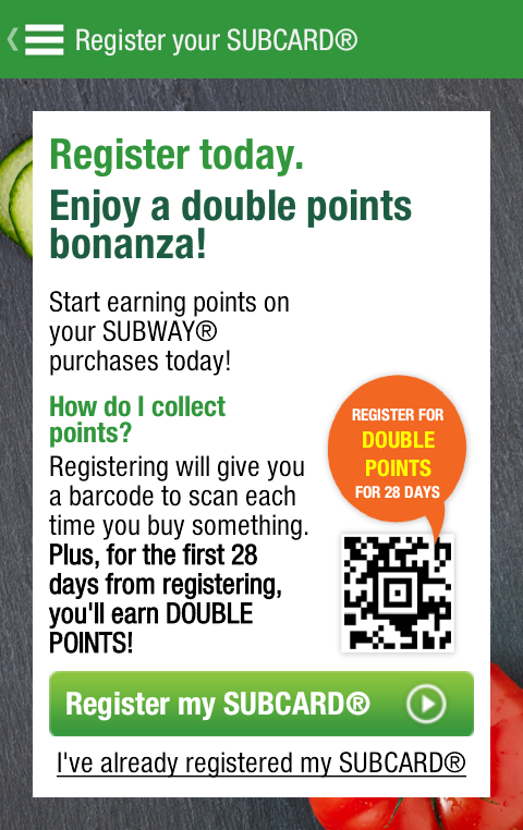 SUBWAY® SUBCARD® UK - screenshot