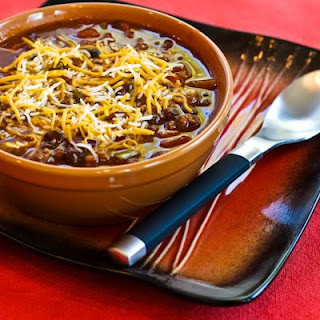 Crockpot Pumpkin Chili with Ground Beef, Black Beans, and Kidney Beans.