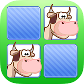 Memo Game Farm Animals Cartoon