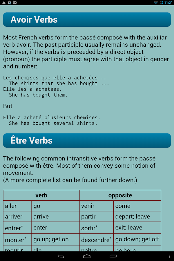 French Verbs Pro- screenshot