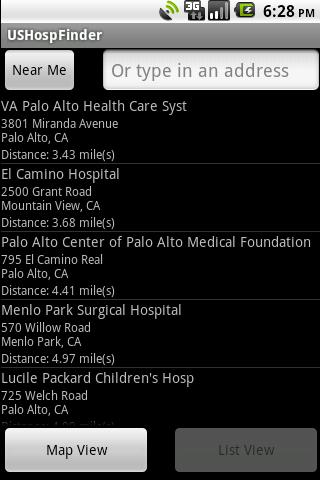 US Hospital Finder Android App- screenshot